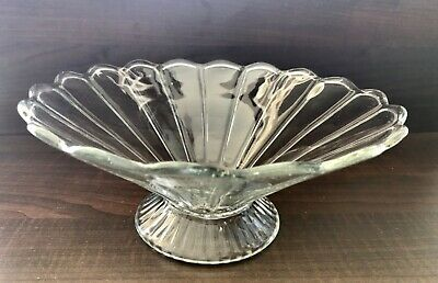 Vintage. Elegant, Clear, Depression Glass, Pedestal Bowl With Scalloped Edges.
