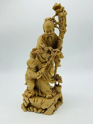 Vintage Japanese Chinese Carved Resin Figurine Statue Old Man Flower Child Staff
