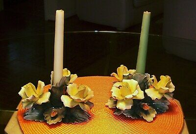 Pair of Capodimonte Floral Candle Holders