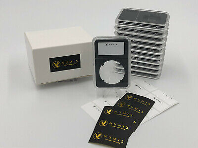 5 Coin Holder Slabs In Black 38mm Case with Label NGC Morgan, Peace Dollar