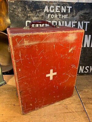 Vintage Australian Timber 1960's First Aid Travel Case with Contents Display