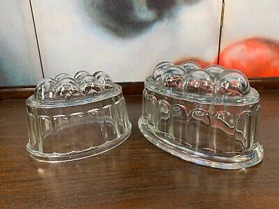 Pair Vintage Art Deco Australian 1930's Depression Glass Jelly Moulds