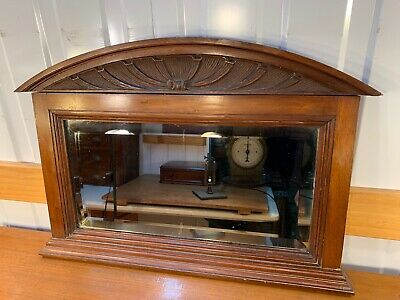 Antique Carved Mahogany Framed Bevelled Mantle Wall Mirror