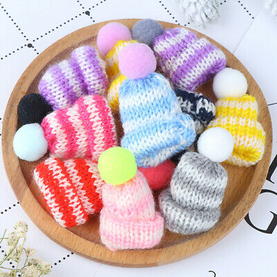 10x Color Cute Knitting Mini Hats DIY Craft Supplie Headwear Toys Decortion FR