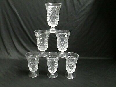 """Set 6 Fostoria American Pattern 4.75"""" Footed Juice Glasses CLEAR"""