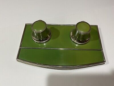 Vtg Mid Century Desk Double Inkwell/Green Bakelite With Chrome Accents/Germany