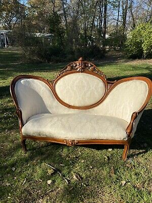 Civil War Era 1800's Antique Carved Walnut Off White Settee Loveseat