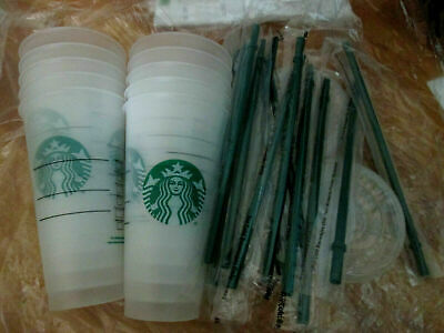 NEW Lot of 6 Starbucks Reusable Venti 24 oz Frosted Ice Cold Drink Cups