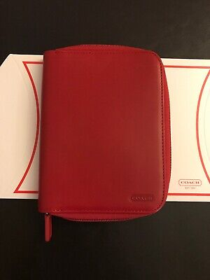 COACH PDA Cell Phone Case Palm Pilot Carrier Holder Pouch, Red Leather.
