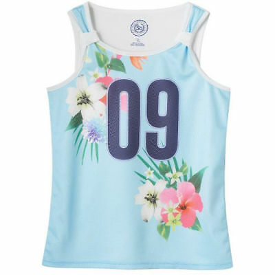 SO Mesh Front Tank Floral Blue Girls' Plus Size: 16 1/2