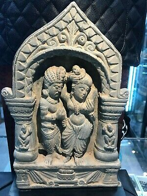 Gandhara Schist Panel with Married Couple Mounted on Stand
