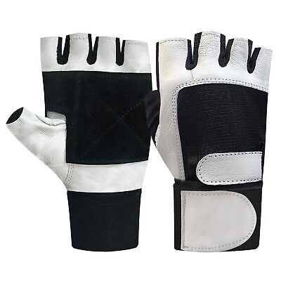 Gym fitness workout body building weight lifting exercise long strap gloves 204