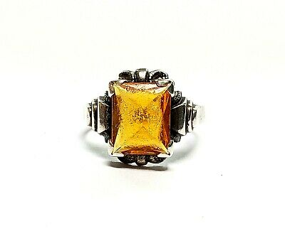 Art Deco Ring Antique Ostby Barton Sterling Silver Ring Size 6.5