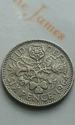 British Silver Sixpence 1964 Birthday Year Coin Jewellery Making