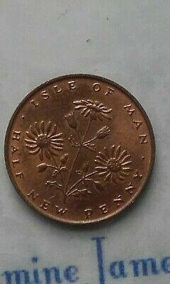 Isle of Man Half New Penny 1975 Coin Circulated Flowers Queen Elizabeth
