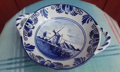Blue and White Delft Pottery Holland Bowl Dish Plate 2 Handles - Windmill Scene