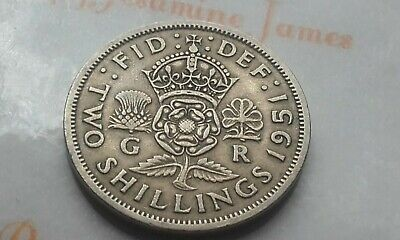 British Florin King George VI 1951 Two Shilling Birthday Coin Jewellery Making