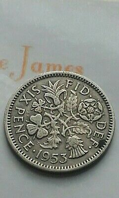 British Silver Sixpence 1953 Birthday Year Coin Jewellery Making