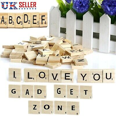 200 Wooden Letters Scrabble Wood Tiles Black Word Alphabet Board Game UK