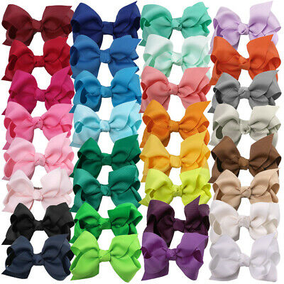 3/4 Inch Baby Girls Kids Grosgrain Ribbon Boutique Hair Bows Alligator Clips