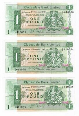 CLYDESDALE BANK LIMITED £1 notes issued 1965, aUNC consecutive numbered