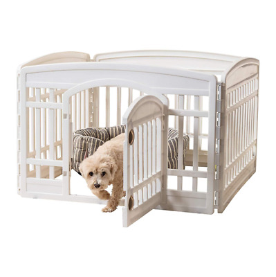 24'' 4 Panel Exercise Crate Cage Indoor Pet Dog Playpen Fence with Door White