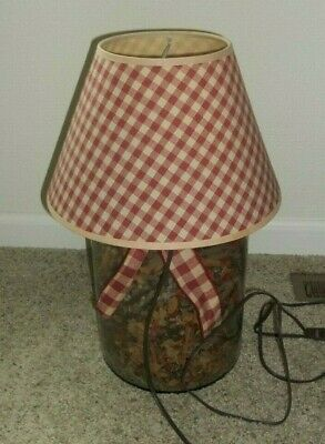 Jar Table Lamp with pine cones plus -  Used