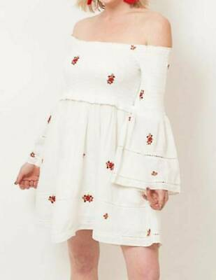 Free People Counting Daisies Dress Bell Sleeve Off The Shoulder Boho 4th Of July