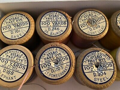 Vintage J&P Coats Sewing Machine Cotton Thread Wooden Reels x 6