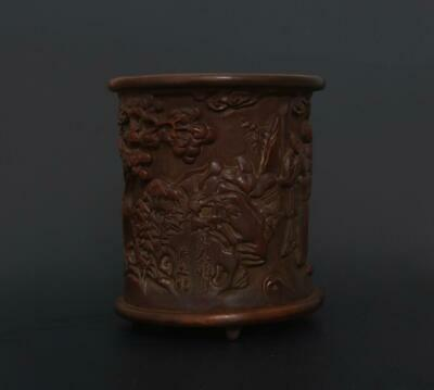 Eastern Fine Perfect Antique Chinese Carved Bamboo Brush Pot Wu Zhifan Marked