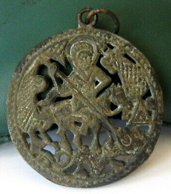 AMAZING POST MEDIEVAL 1800s. PERIOD BRONZE MEDALLION WITH St.GEORGE # 82C