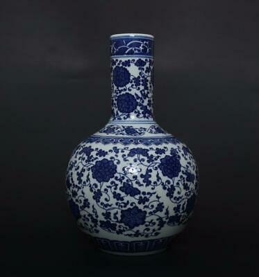 Finely Antique Chinese Porcelain Blue and White Vase Qianlong Marked-flower 34cm