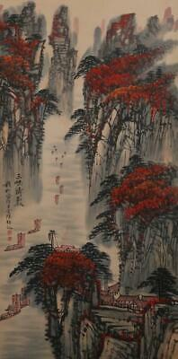 Fine Chinese Hand-painting Painting Scroll Qian Songyan Marked-Sanxia