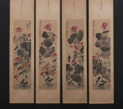 Fine Chinese Hand-painting Painting Four Scroll Wu Hufan Marked-louts flower