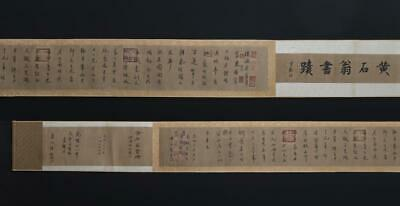 Eastern Fine Antique Chinese Hand-writing Calligraphy Scroll Huang Shiwong Mark
