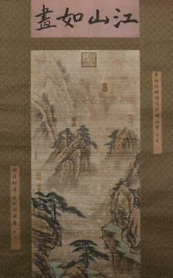 Chinese Hand-painting Painting Scroll Wang Ximeng Marked-landscape