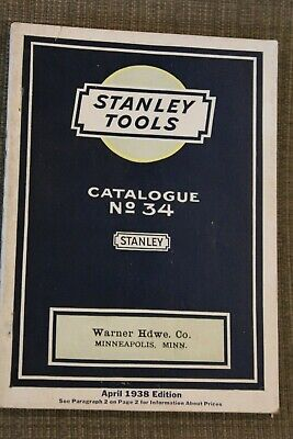 Stanley Tools Catalogue 34 April 1938 Edition Warner Hardware Co. Minneapolis MN