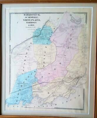1867 Map Mamaroneck, Scarsdale, White Plains, Harrison, Rye Beers Westchester NY