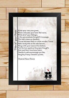 Personalised Poem, Couple Gift, Gift For Her / Him, A4 Framed Print, Poster,love