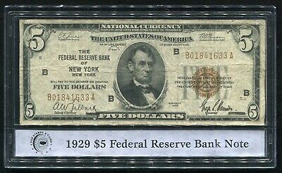 1929 $5 Frbn Federal Reserve Bank Note New York, Ny Pcs Stamps & Coins