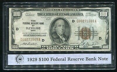 1929 $100 Frbn Federal Reserve Bank Note Cleveland, Oh Pcs Stamps & Coins