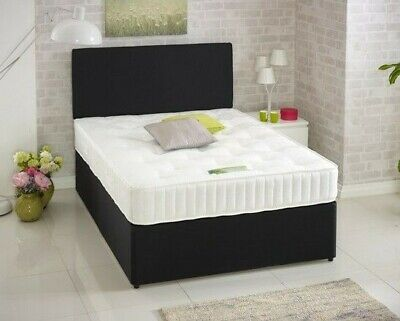 3Ft Single Faux Leather Bed, Memory Bed, Single Bed, Divan Bed Black Bed