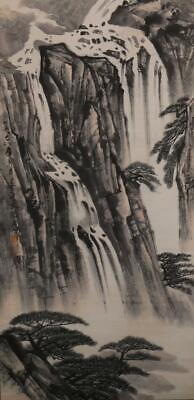 Fine Chinese Hand-painting Painting Scroll Song Wenzhi Marked-falls