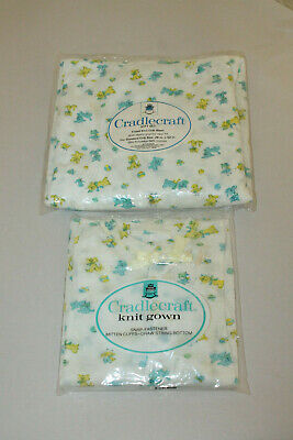 Vintage New Cradlecraft Fitted Baby Crib Sheet & Knit Gown