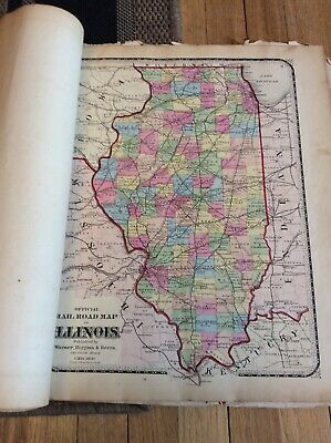 Warner,Higgins&Beers Atlas 1870's Illinois Counties And Other Whole States
