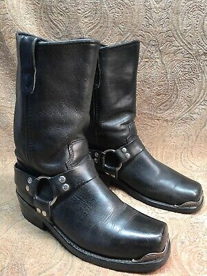 Mens Double H HH Harness Black Leather Square Toe Motorcycle Boots 8 D Biker