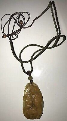 """Exceptional carved hard stone pendant W Fortuitous Bat - 2.25"""" Main Stone Length"""