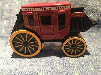 Wells Fargo Concord Stagecoach Painted Metal Coin / Piggy Bank With 2 Keys