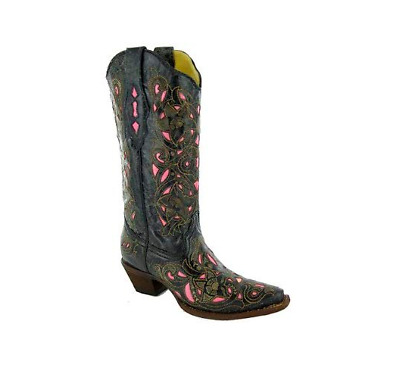 Corral Womens Laser Cut Floral 100/% Leather Boot A1953