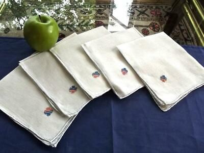 "5 Antique Handcrafted Off-white Linen 10"" Cocktail Tea Napkins Dainty Embroidery"